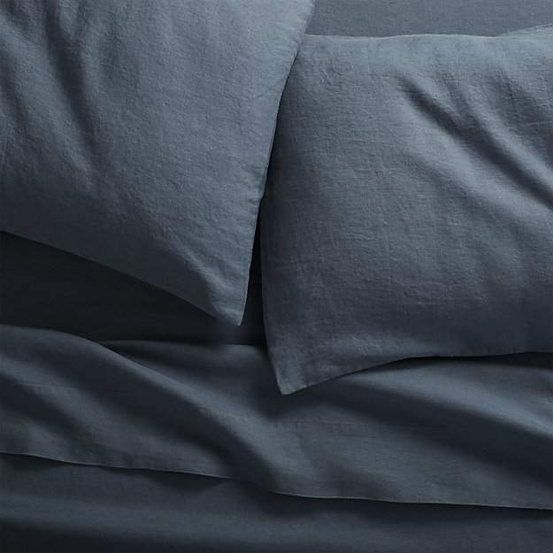 CB2 Linen Navy Full Sheet Set