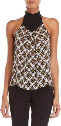 A.L.C. Ava Printed Crochet Yoke Top