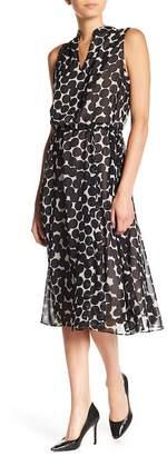 Anne Klein Drawstring Waist Dot Midi Dress