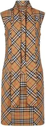 Burberry Sleeveless Check Shirt Dress