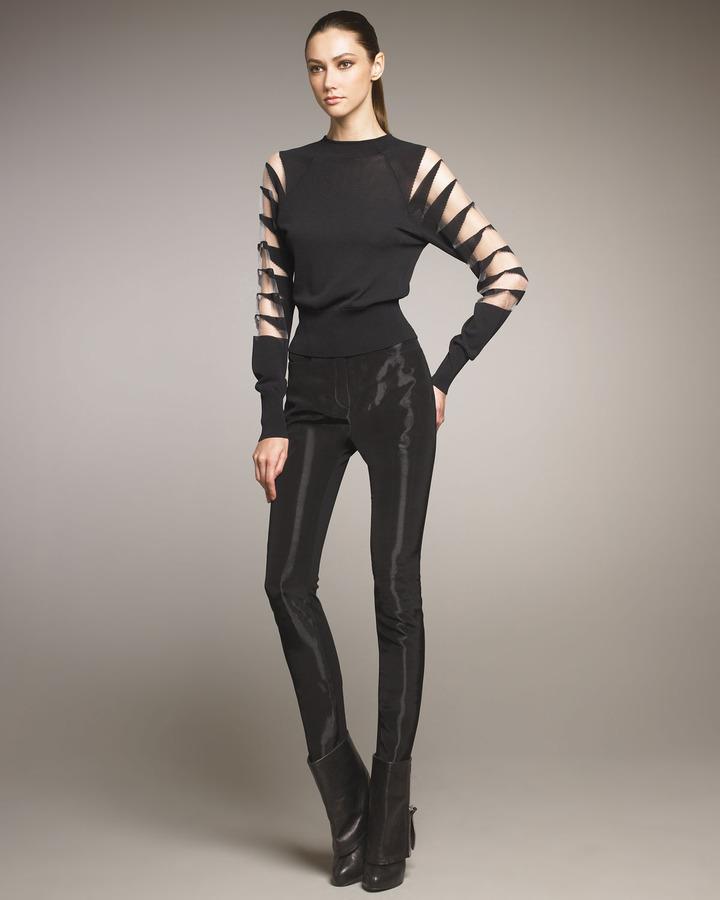 Thierry Mugler Digital-Fabric Slim Pants