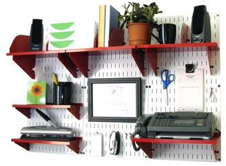 Wall Control Office Organizer Unit Wall Mounted Office Desk Storage and Organization Kit White Wall Panels and Red Accessories
