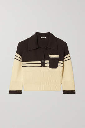 Miu Miu Cropped Striped Cashmere Polo Shirt - Ecru