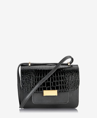 GiGi New York Abigail Crossbody, Black Embossed Italian Croco