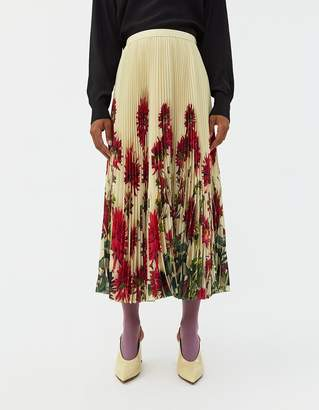 Dries Van Noten Sax Pleated Skirt in Pale Yellow Floral