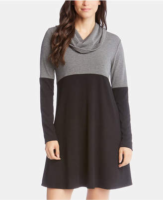 Karen Kane Colorblock Cowlneck A-Line Dress