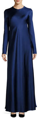 The Row Yulia Long-Sleeve Satin Gown, Dark Blue