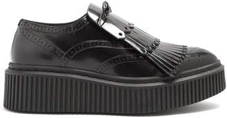 Burberry Kiltie-fringe leather flatform brogues