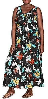 City Chic Plus Sleeveless Tropical Floral Maxi Dress