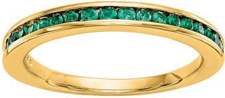 MODERN BRIDE Modern Bride Gemstone Womens 2.5mm Green Emerald 14K Gold Round Wedding Band