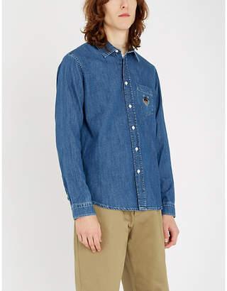 Kenzo Tiger-embroidered regular-fit denim shirt
