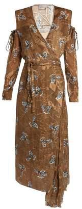 Preen By Thornton Bregazzi - Hayett Printed Satin Devore Dress - Womens - Gold Multi