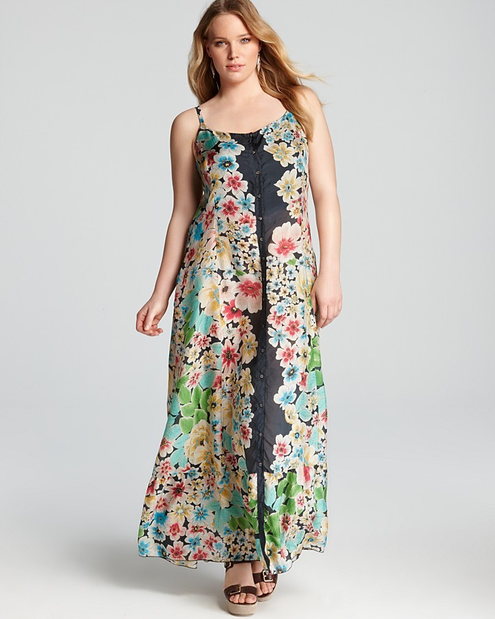 Johnny Was Collection Plus Button Down Maxi Dress