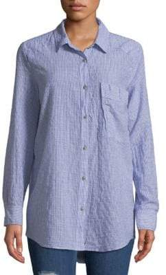 Free People No Limit Stripe Combo Button-Down Shirt