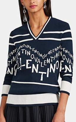 Valentino Women's Logo-Intarsia Wool-Cashmere V-Neck Sweater - Navy
