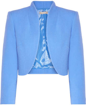Michael Kors Collection - Cropped Wool-blend Crepe Jacket - Azure $1,295 thestylecure.com