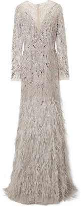 Monique Lhuillier Embellished Tulle Gown - Light gray