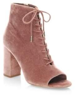 Joie Lakia Lace-Up Velvet Ankle Boots