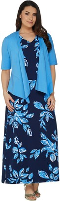 Denim & Co. Printed V-Neck Sleeveless Maxi Dress w/ Drape Front Shrug