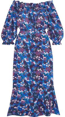 Saloni - Grace Off-the-shoulder Floral-print Silk-crepe Dress - Blue $655 thestylecure.com