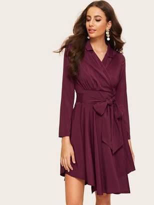 Shein Self Tie Surplice Wrap Shirt Dress