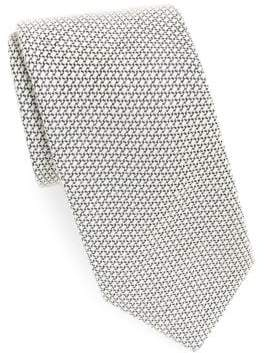 Charvet Men's Textured Wool& Silk Tie - Silver