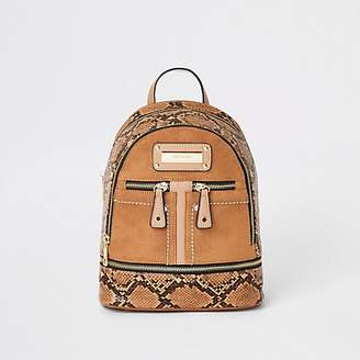 River Island Brown snake mini zip pocket backpack