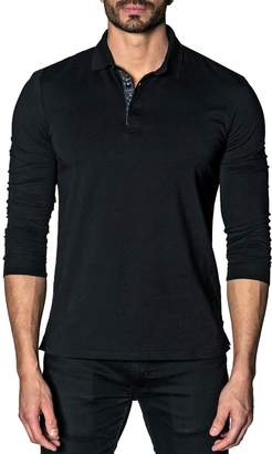 Jared Lang Line-Dot Long Sleeve Knit Polo Shirt