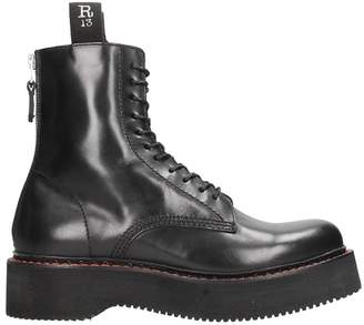 R 13 Black Leather Chunky Sole