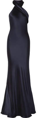 Pandora Galvan Silk-satin Gown - Midnight blue