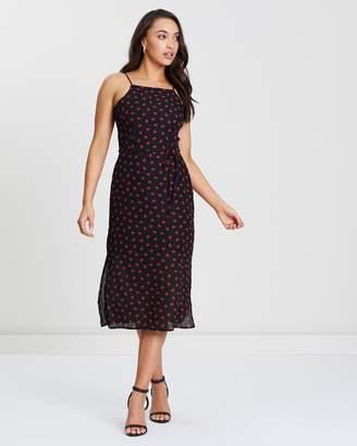 Oasis Lip Print Square Neck Midi Dress