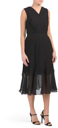Pleated Chiffon Beaded Waist Dress