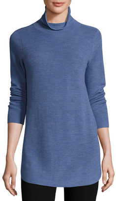 Eileen Fisher Long-Sleeve Ribbed Turtleneck Tunic $228 thestylecure.com
