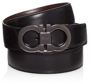 Salvatore Ferragamo Smooth Reversible Calf Belt with Tonal Metallic Double Gancini Buckle