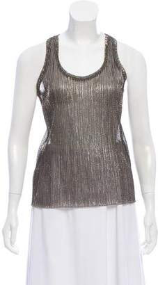 Nili Lotan Metallic Plissé Top
