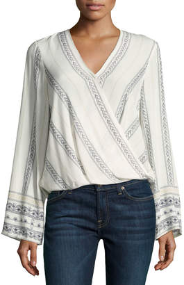 Willow & Clay Pintuck Floral-Print Wrap Blouse $65 thestylecure.com