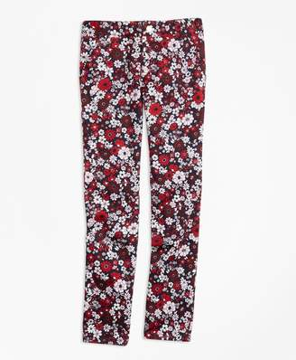 Brooks Brothers Girls Cotton Sateen Floral Skinny Pants