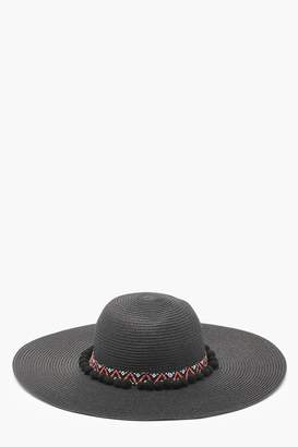 boohoo Aztec Pom Pom Straw Floppy Hat