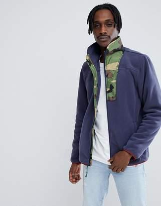 Herschel Full Zip Fleece Sweat Camo Collar in Navy