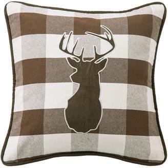 "Buffalo David Bitton Hiend Accents 18""x18"" Embroidered Deer on Linen Pillow"