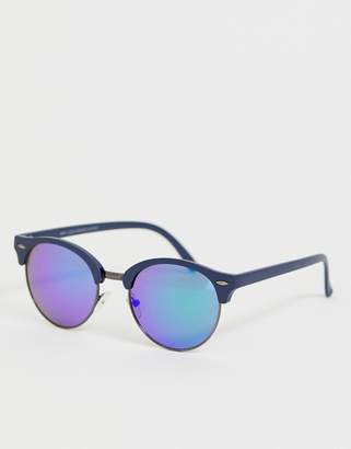 New Look round sunglasses with blue lens in silver