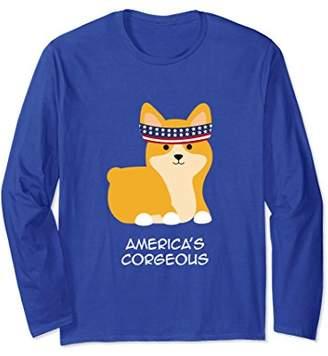 Corgi America's Corgeous Long Sleeve T-Shirt-Funny Patriotic