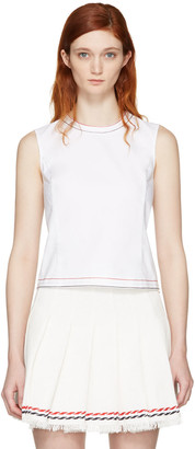 Thom Browne White Crewneck Tank Top $820 thestylecure.com