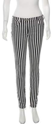 Balmain Striped Mid-Rise Jeans