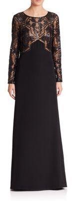 Tadashi Shoji Embellished Mesh-Bodice Gown $428 thestylecure.com
