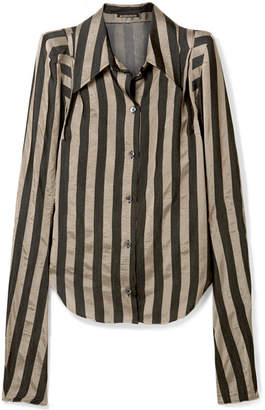 Ann Demeulemeester Striped Satin-twill Shirt - Black
