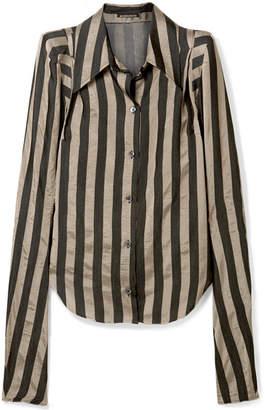 Ann Demeulemeester Striped Satin-twill Shirt - Black