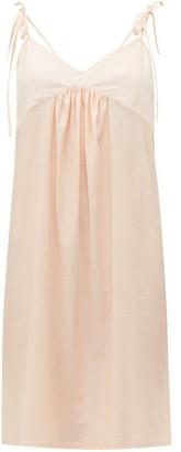 Rossell England - Tie Strap Cotton Slip Dress - Womens - Nude