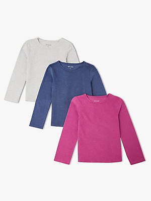 John Lewis & Partners Girls' Long Sleeve T-Shirts, Pack of 3, Purple/Blue