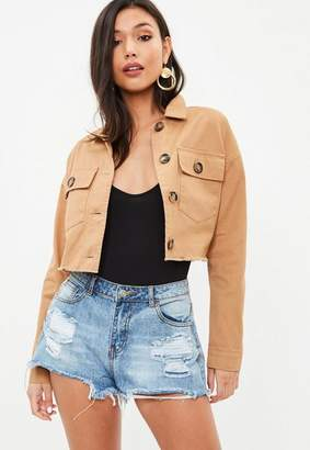 Missguided Petite Brown Cropped Trucker Jacket